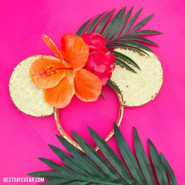 Find out the cutest Disney Aulani t-shirts to buy before your trip to Disney's Aulani Resort in Hawaii by top Hawaii blog Hawaii Travel with Kids. These tropical flower Minnie Mouse ears are perfect for Aulani.