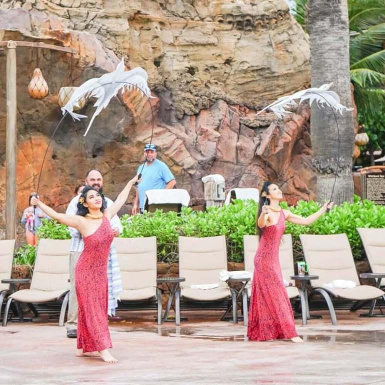 Aulani tips and Disney Aulani Resort review featured by top Hawaii blog, Hawaii Travel with Kids: Photo of hula dancers at Disney Aulani Resort in Hawaii #aulani #oahu #hula