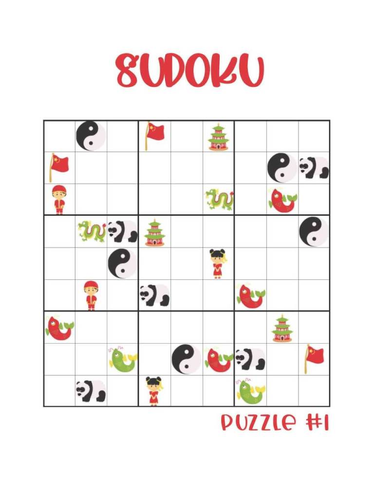 Free printable Chinese New Year sudoku for kids.