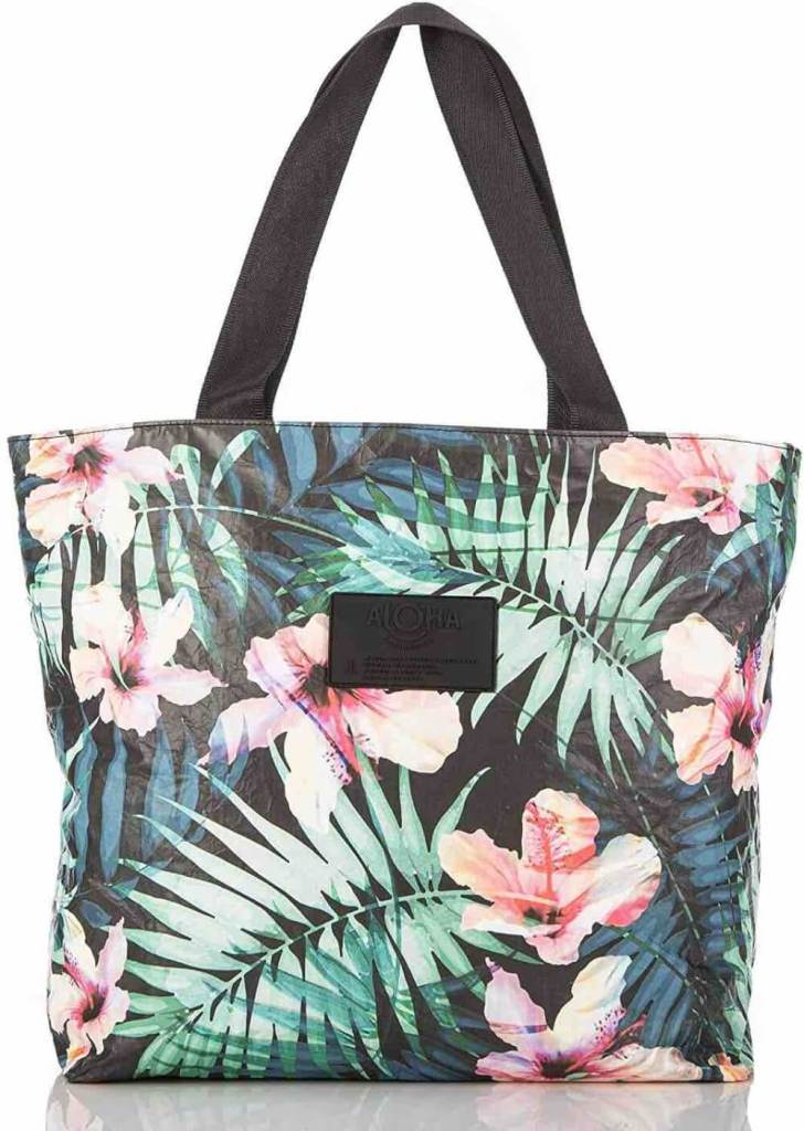 Image of an Aloha print tote bag that is perfect for the beach or for the airplane.