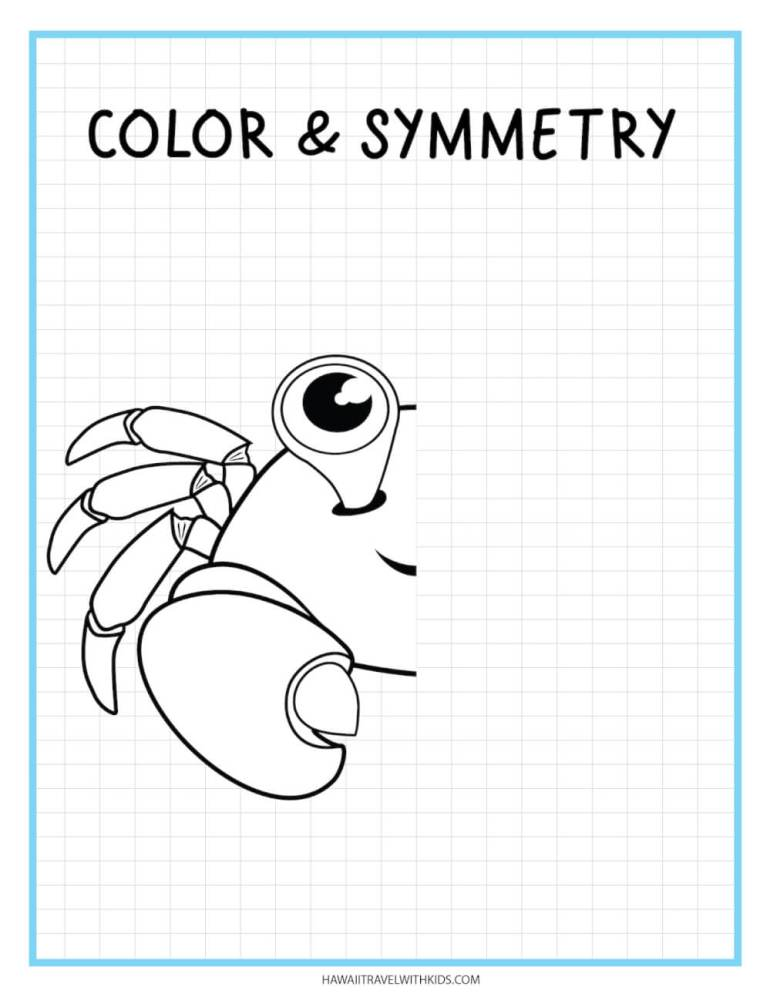 Learn how to draw a crab with this beach worksheet for kids. Image of half a drawn crab.