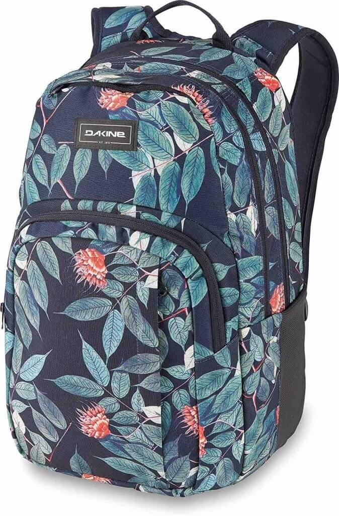 This is my favorite carry on backpack. Image of Da Kine backpack with a eucalyptus print on it, perfect for Hawaii.