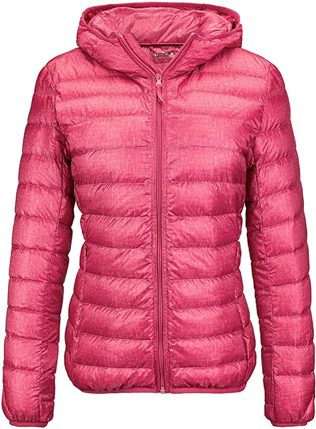 If you're doing Haleakala at sunrise, be sure to add a foldable jacket to your Hawaii packing list. Image of a pink down jacket for women.