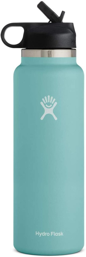We always add our Hydro Flasks to our Hawaii packing list. Image of a blue Hydro Flask reusable water bottle.
