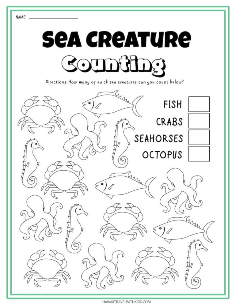 Get this sea creature counting worksheet by top Hawaii  blog Hawaii Travel with Kids. Image of a sea animal worksheet.