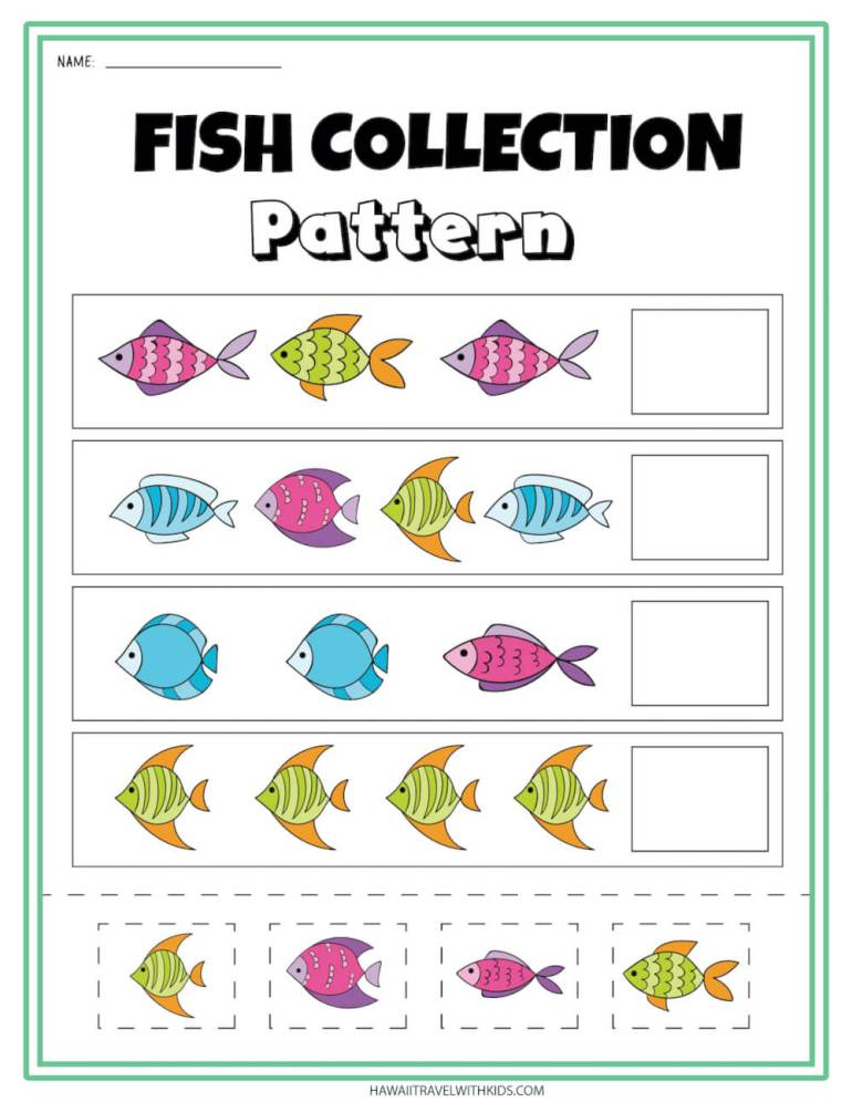 Get this fish collection pattern ocean printable worksheet. Image of a bunch of colorful fish on a worksheet.