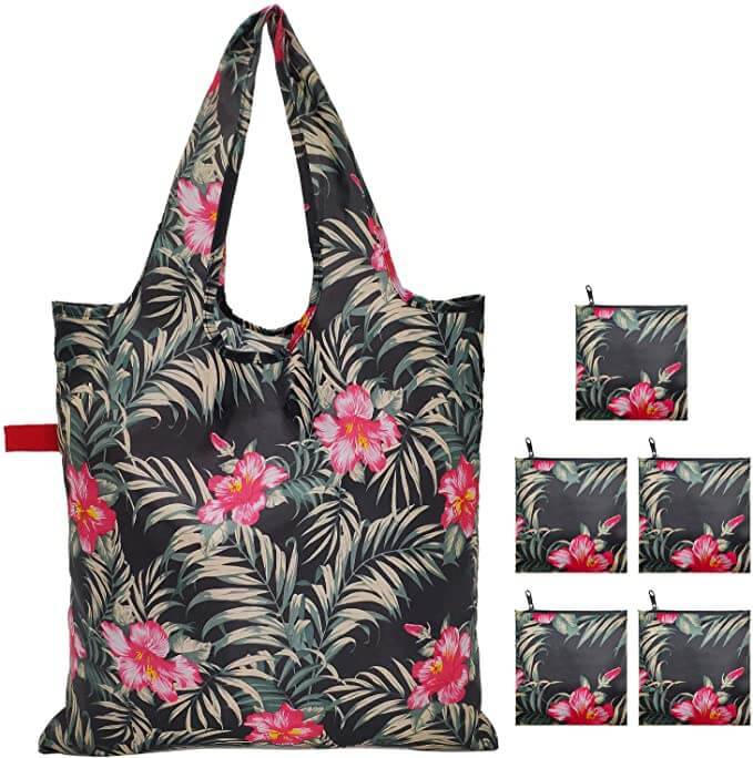 Hawaii doesn't allow plastic bags so it's helpful to add nylon bags to your Kauai packing list. Image of tropical reusable bags.