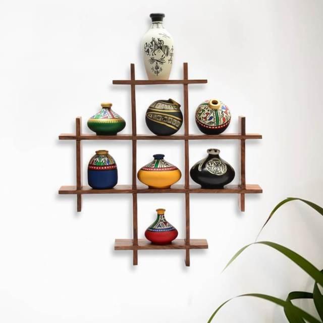 wood shelf multi-box wall decoration piece in pakistan
