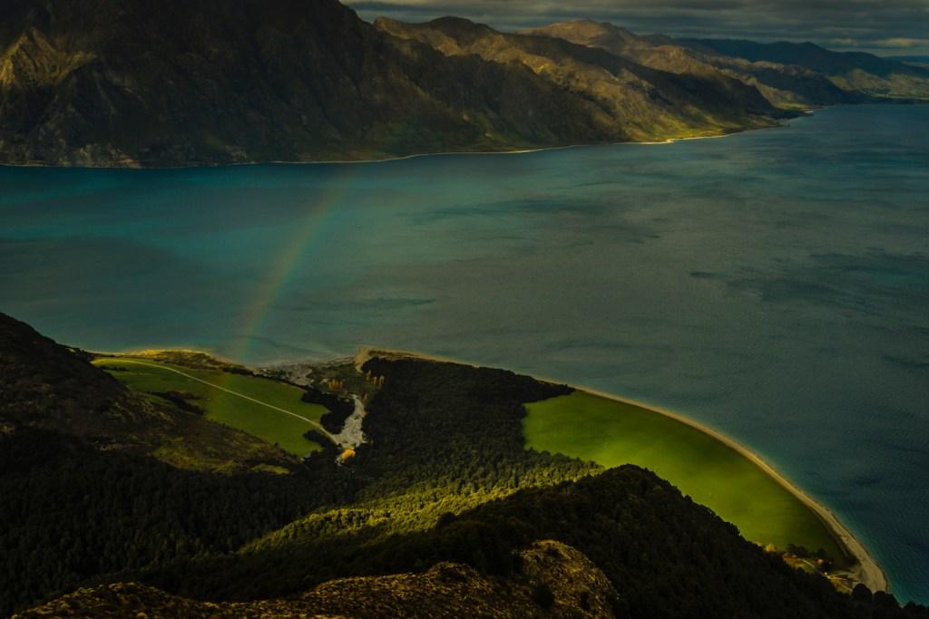 Lake Hawea with rainbow