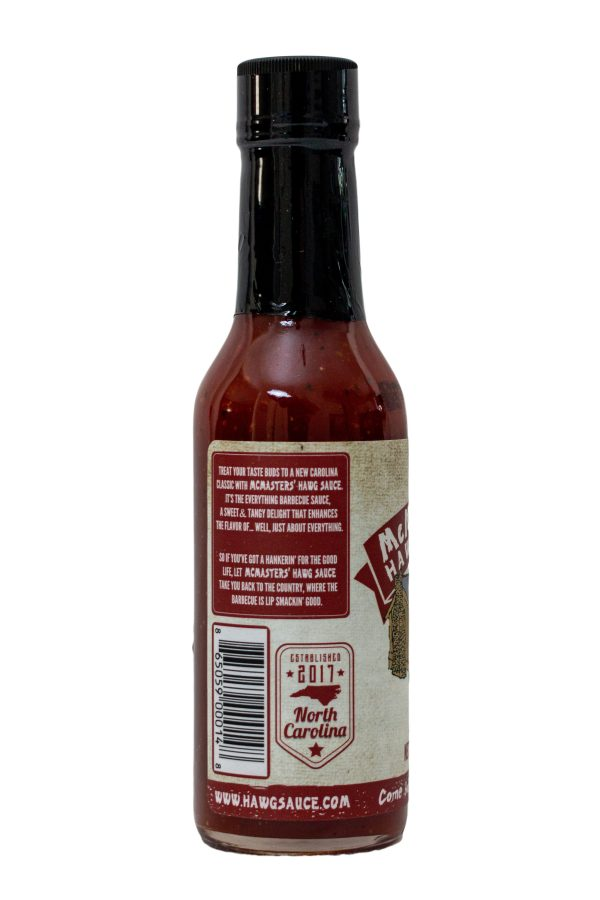 Back of McMasters Hawg Sauce 5oz Bottle