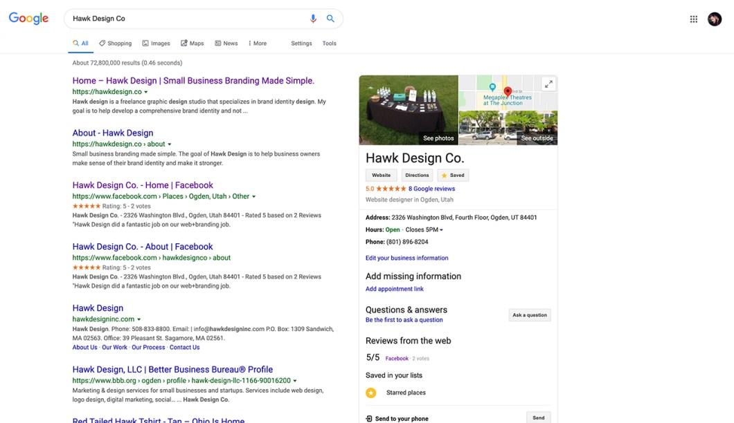 Hawk Design Google Listing