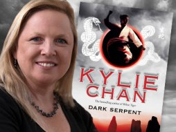 Author Kylie Chan and the front cover of Dark Serpent.