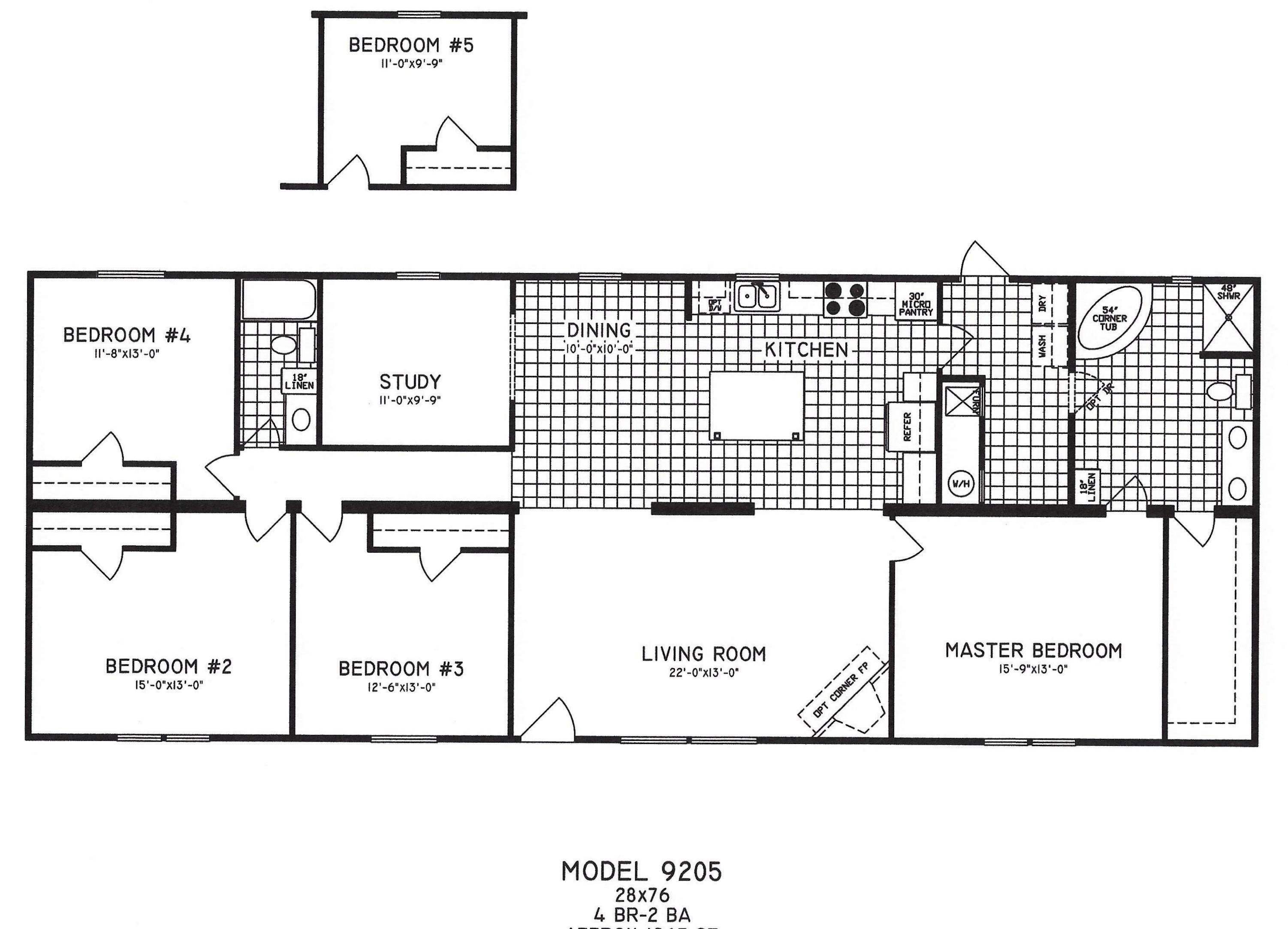 4 Bedroom Floor Plan: C-9205 - Hawks Homes