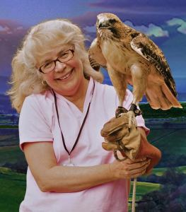 Christine with Red Tail Hawk