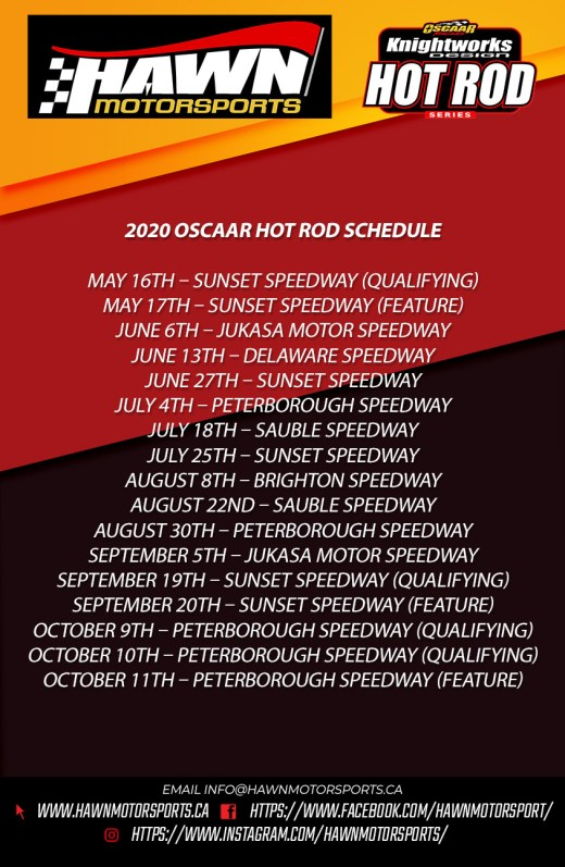 2020 Hot Rod Schedule