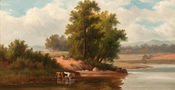 Isabella Bissett (1830-1870), Catskill Landscape, c. 1850's. Oil on canvas, 7 x 13 inches. Signed on stretcher. Collection of Hawthorne Fine Art.