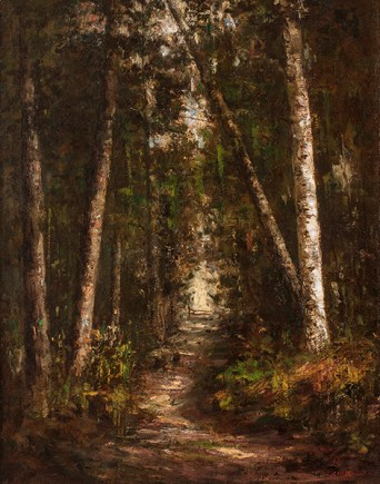 Helen Mary Knowlton (1832-1918), Forest Path. Oil on canvas, 28 ½ x 22 ½ inches. Signed lower right. Collection of Hawthorne Fine Art.