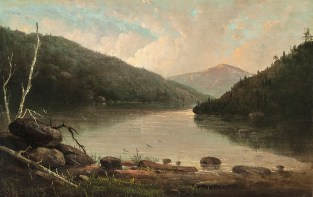 Virginia Chandler Titcomb (1838-1912), In the Catskills, Looking Towards Hunter Mountain. Oil on canvas, 9 x 14 inches. Inscribed with title and initials on stretcher, verso. Collection of Hawthorne Fine Art.