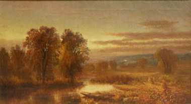 Mary Josephine Walters (1837-1883), Autumn River with Punt in the Reeds. Oil on canvas, 13 ¼ x 23 ¾ inches. Inscribed in pencil on the stretcher. Collection of Hawthorne Fine Art.