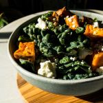 Roasted Sweet Potato and Kale Salad with Carrot Cider Dressing