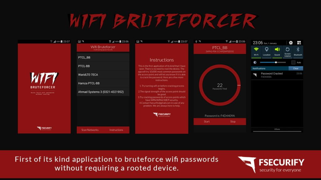 WiFi Bruteforcer - Android App to crack WiFi Passwords