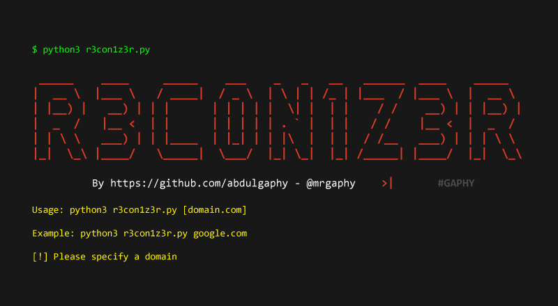 R3con1z3r - Lightweight Web Information Gathering Tool