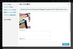 WordPress ビジュアルエディタ→メディアを追加→URLから挿入
