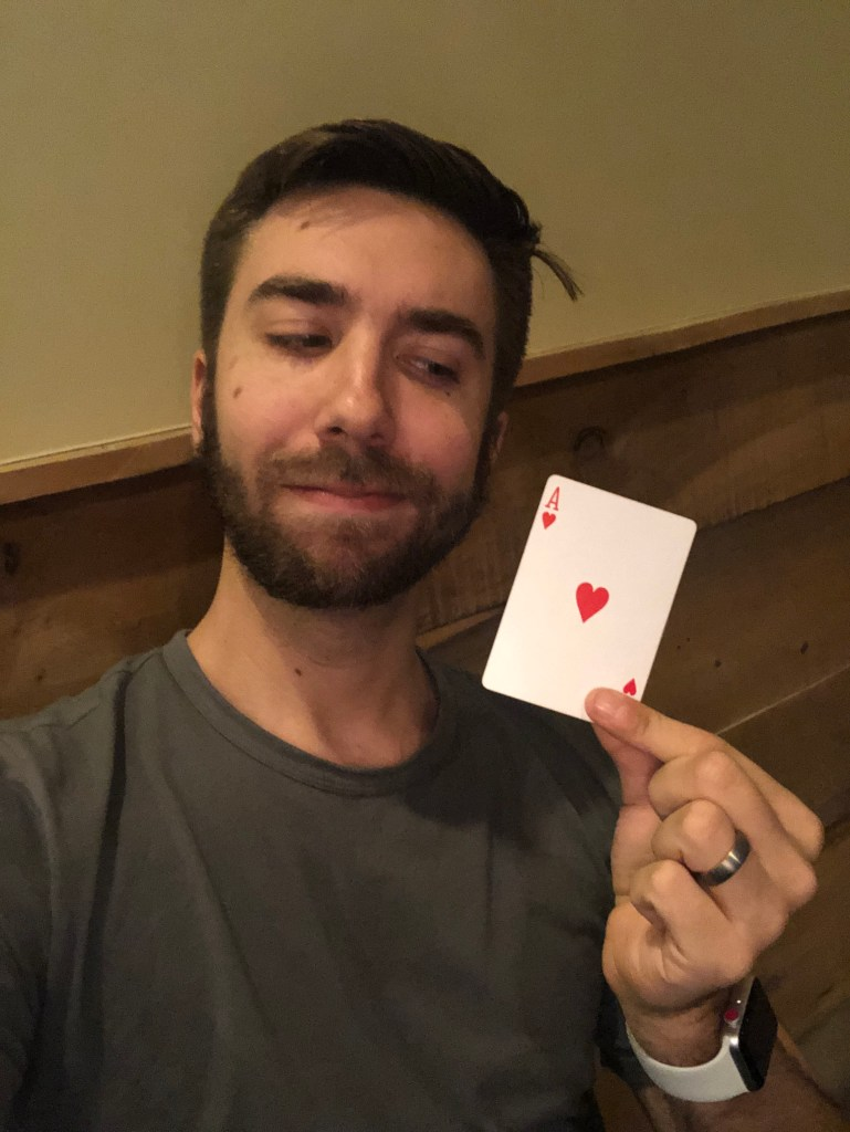 Hayden Holding Ace of Hearts
