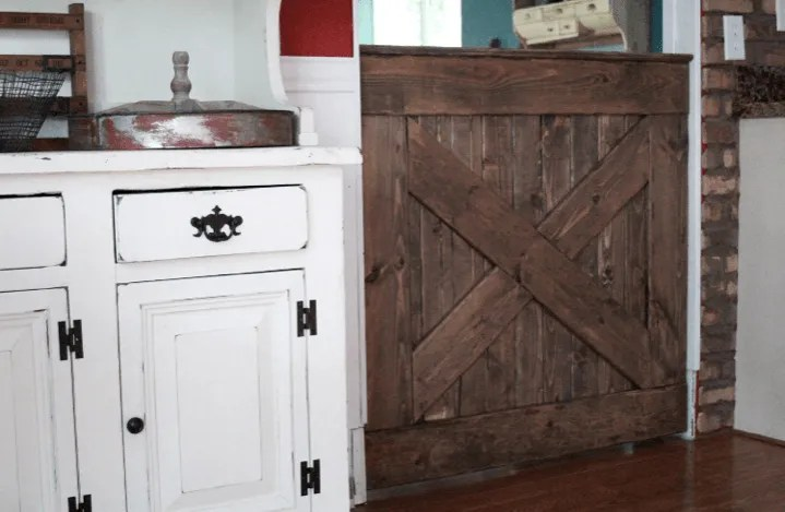 And A View At The Backside Of Our Barn Door Baby Gate From The Kitchen. Iu0027m  So Glad We Decided To Include The Criss Cross Pattern On The Back Of The  Gate ...