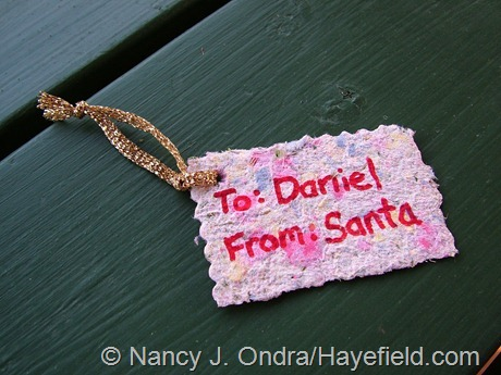 Gift tag made from handmade paper