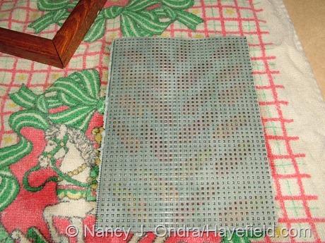 Handmade paper with Chasmanthium latifolium seedheads (with plastic needlepoint canvas screening)