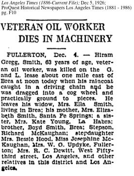 Hiram Gregg Smith Killed On Oil Platform