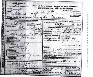 Angelo Baroni Death Certificate