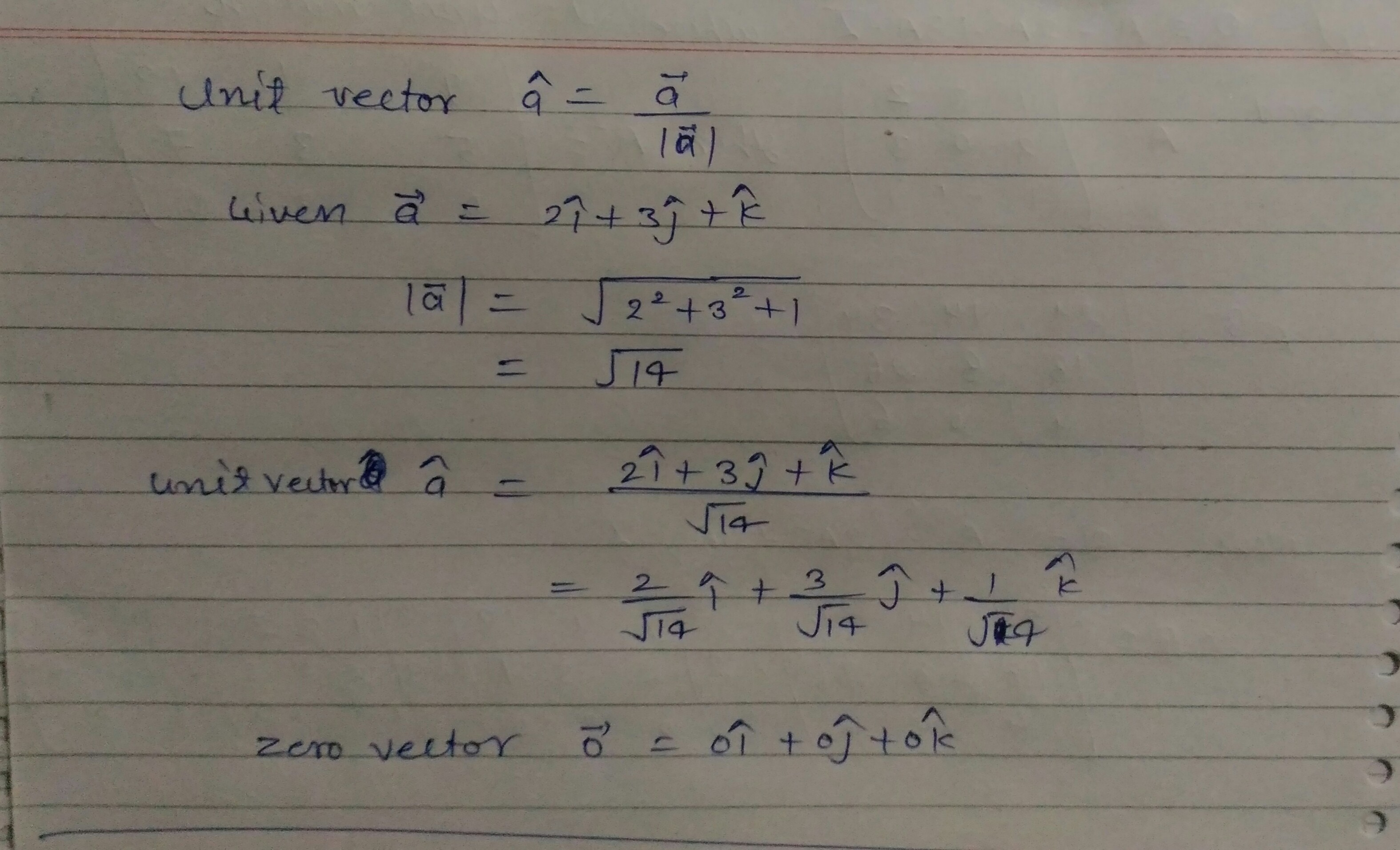 Find Unit Vector In The Direction Of Vector A 2i 3j K