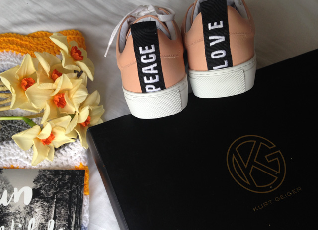 Kurt Geiger, LAVA stylish trainers, peace and love.