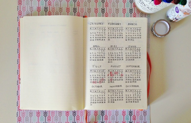 Bullet Journal Full Year Calendar