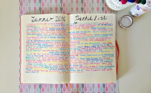 Bullet Journal Summer Bucket List