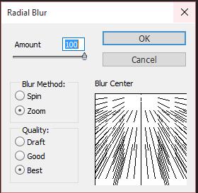 Radial Blur settings
