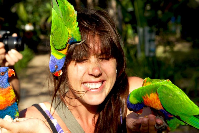 Girl With Tame Lorikeets Magnetic Island East Australia Road Trip Travel Blog Writing Workshop