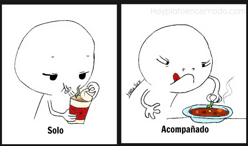 comer solo o acompañado color viñeta