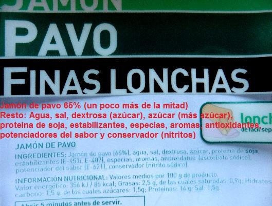 etiqueta jamon pavo finas lonchas hacendado