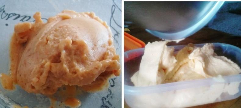 helado de níspero y helado de melocotón