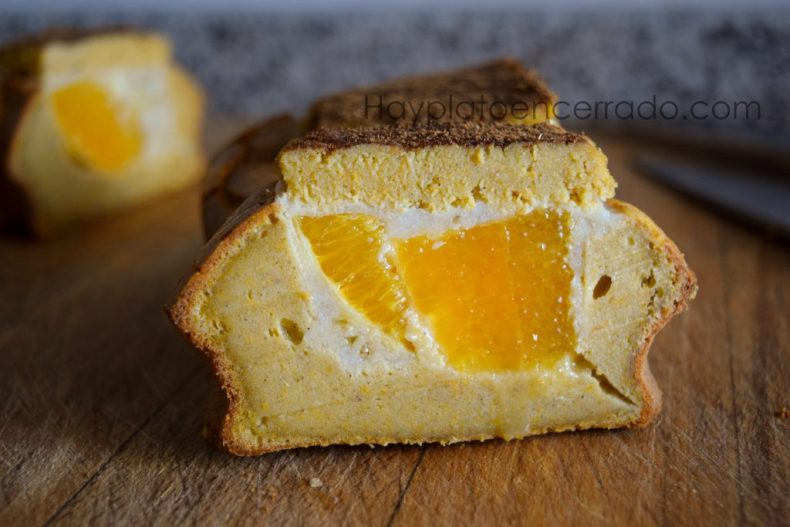 bizcocho de naranja y panna cotta sin azucar ni edulcorante
