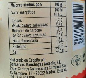 composición nutricional asadillo de pimientos