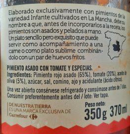 etiqueta ingredientes asadillo de pimientos