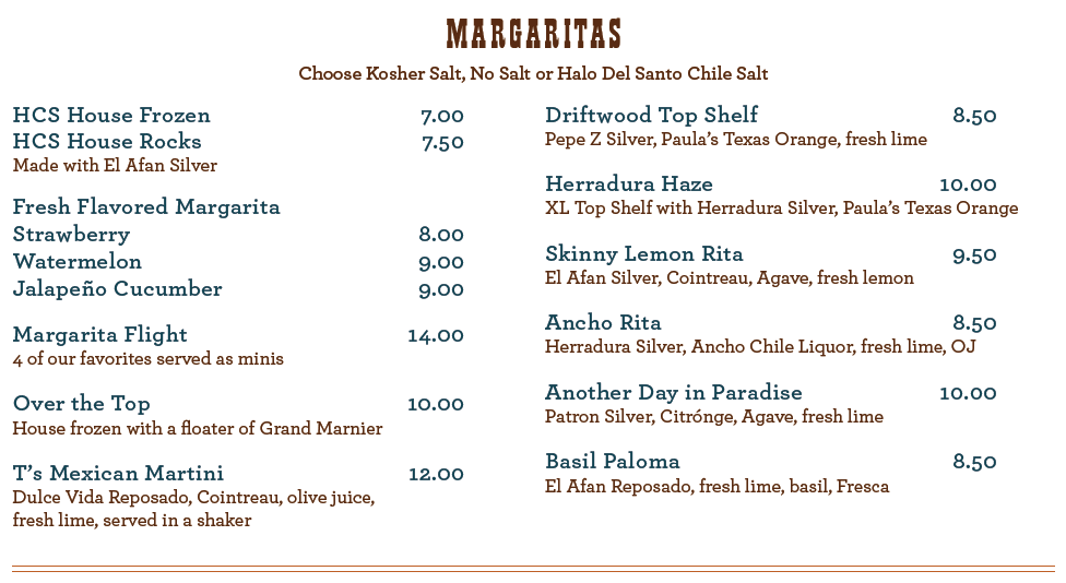 Magaritas Menu