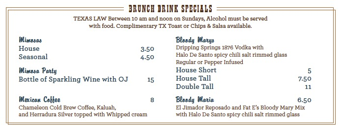 Sunday Brunch Drink Specials