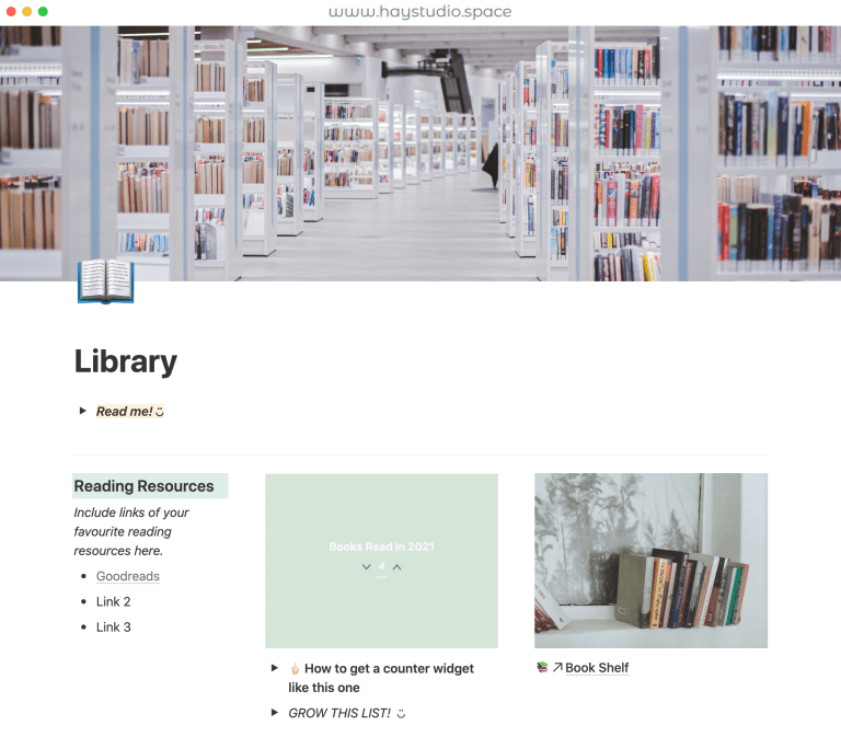 Free Notion Template - Library Books Reading