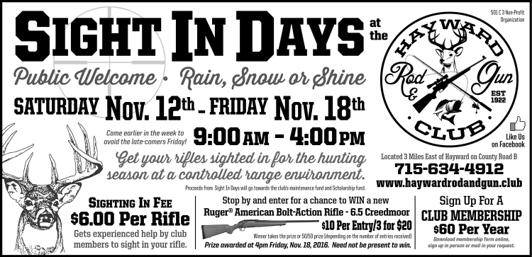 Hayward Rod & Gun Club Sight In Days newspaper ad