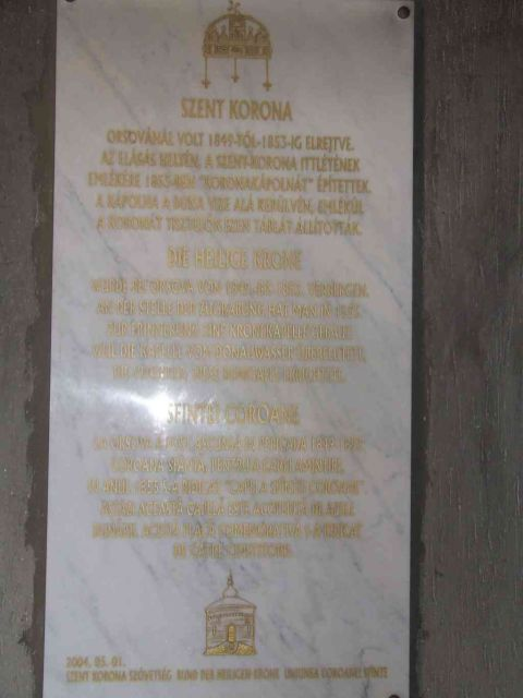 A Szent Korona emléktábla Orsován